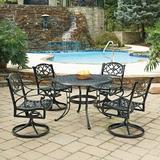 August Grove® Ayleen 5 Piece Outdoor Dining Set Metal in Black, Size 29.0 H x 42.0 W x 42.0 D in | Wayfair ASTG2078 27982088