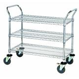 "Aviditi WSC3618383 Silver 3 Shelf Heavy-Duty Wire Cart, 36"" x 18"" x 38"""