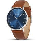 MDC Mens Brown Leather Watch Minimalist Wrist Watches for Men Deep Blue Wristwatch Men's Ultra Thin Dress Business Casual