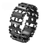 Multi Tool Bracelet for Men, 29 in 1 Stainless Steel Multifunction Bracelet Survival Multitools Bracelet Travel Friendly Wearable Multitool Tread Bracelet (Black)