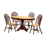 Sunset Trading Oak Selections Dining Room Set, Two Size Table | Rectangular | Butterfly Leaf, Medium Walnut with Light top and Seats