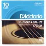 D'Addario EJ16 Phosphor Bronze Acoustic Guitar Strings - .012-.053 Light (10-pack)