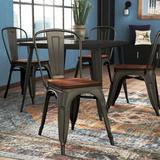 Sand & Stable™ Collins Slat Back Stacking Side Chair in Gunmetal Gray/BrownWood/Metal in Black/Brown/Gray | Wayfair