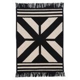 Union Rustic Drubin Striped Area Rug Polyester/Wool in Black/Gray, Size 48.0 H x 48.0 W x 0.5 D in   Wayfair 5187D678E5374501A4EC076046F2544B