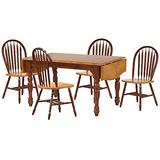 Sunset Trading Oak Selections Dining Room Set, Six Size Table | Extension Leaf, Medium Walnut with Light top and Seats
