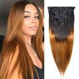 Feelgrace Clip in Hair Extensions Straight Hair for Women, 1B/30 Real Human Hair Double Weft Thick to Ends Clips ins Hair Extension, 1B/Brown Clip in Straight Hair Extension (18 inches)