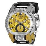 Invicta Men's Reserve Stainless Steel Quartz Watch with Silicone Strap, Black, 34 (Model: 26444)