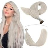 YoungSee Blonde I Tip Hair Extensions Human Hair 18inch Cold Fusion Hair Extensions I Tip Extensions Platinum Blonde Hair Extensions Keratin Human Hair Extensions 1g/s 50strands