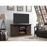 """Gracie Oaks Carnahan TV Stand for TVs up to 70"""" w/ Electric Fireplace Included Wood in Brown/Gray, Size 34.0 H x 64.0 W x 19.5 D in 