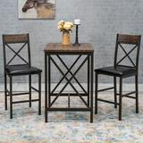 Foundstone™ Byrnes 2 - Person Dining Set Wood/Metal in Black/Brown/Gray, Size 36.0 H in   Wayfair 832501A3CD3C4DB891DEECFE625E5AC8