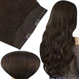 Fshine Hair Extensions Headband 14 Inch Hidden Hair Extensions Crown Human Hair One Piece Remy Clip in Hair Extensions Darkest Brown Color 2 70 Gram Invisible Line Wire for Hair Extensions