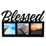 FASHIONCRAFT 88049 Blessed Picture Frame, Black Picture Frame with Openings for 3 Photos, Religious Favor Featuring 'Blessed' in Black Metal Letters, 1-Piece