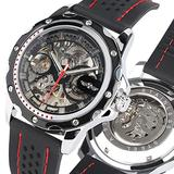 Creative Skeleton Dial Automatic Mechanical Watch for Men, Silicone Strap Mechanical Watches for Boy, Men Luxury Black Dial Automatic Mechanical Watch for Friends - JLYSHOP