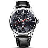 Mens Power Reserve Display Automatic-Self-Wind Watches Leather Band Luxury Waterproof Swiss Watches (Black Leather/Silver Black)