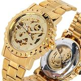 Men's Luxury Automatic Mechanical Watches, Stainless Steel Gold Band Mechanical Watch for Teenagers, Business Skeleton Watch Mechanical for Men - JLYSHOP