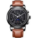 Men's Automatic Mechanical Watch Date Moon Phase 24-Hour Indication Calfskin Leather Transparent Watches (Black Leather- All Black)