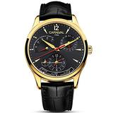 Mens Power Reserve Display Automatic-Self-Wind Watches Leather Band Luxury Waterproof Swiss Watches (Black Leather/Gold Black)