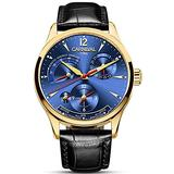 Mens Power Reserve Display Automatic-Self-Wind Watches Leather Band Luxury Waterproof Swiss Watches (Black Leather/Gold Blue)