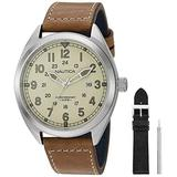 Nautica Men's Battery Park Stainless Steel Japanese-Quartz Leather Strap, Brown, 22 Casual Watch (Model: NAPBTP009