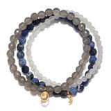 Satya Jewelry Women's Sodalite, Grey Agate, White Jade Gold Moon Stretch Bracelet Set, One Size, Blue