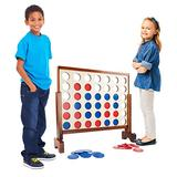 Hey! Play! 4-in-A-Row-Giantt Classic Wooden Game for Indoor & Outdoor Play-22 Player Strategy & Skill Fun Backyard Lawn Toy for Kids & Adults
