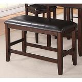 Fulton Dark Brown Wood/Faux Leather Counter Height Bench by Crown Mark