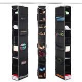 ZOBER 10-Shelf Hanging Shoe Organizer (3 Pack) Hanging Closet Shoe Organizer with Side Mesh Pockets, Space Saving Shoe Holder & Storage, Closet Organizer Great for Shoes, Purses, Handbags Etc. (Black)