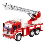 STOBOK Kids Telling a Story Intelligence fire Ladder Truck Model Toy Engineering car Trailer Truck Educational Playmate Gifts for Children(fire Ladder Truck)