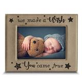 Bella Busta- We made a Wish & You Came True- Baby Picture Frame- Baby shower Gift- Baby Gift-Mother's Day Gift-Father's Day gift-Engraved Leather Picture Frame (4 x 6 Horizontal)