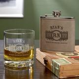 Home Wet Bar Marquee Personalized 2 Piece Whiskey Decanter Set Glass in Brown | Wayfair 6192