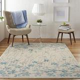 """Nourison TRA04 Tranquil Bohemian Floral Ivory Area Rug 5'3"""" X 7'3"""", 5'3""""X7'3"""""""