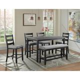 Kona Counter Height 6PC Dining Set-Table, Four Chairs & Bench - Picket House Furnishings DMT3006CS