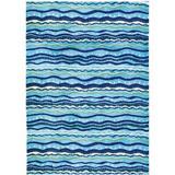 Highland Dunes Flinn Wavey Stripes Area Rug Microfiber in Blue, Size 84.0 H x 60.0 W x 0.5 D in   Wayfair BA9B5B42CB4344B1A608C87A5E421F4F