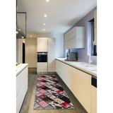 Astoria Grand Bunce Print Absorbent Soft Non-Slip Kitchen Mat Synthetics in White, Size 1.0 H x 36.0 W x 96.0 D in   Wayfair