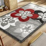 Ebern Designs Kimbrel Floral Gray Area Rug Polypropylene in White, Size 36.0 H x 62.0 W x 0.5 D in | Wayfair BB2ABDB507034837BF25B1981065DCD7