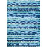 Highland Dunes Flinn Wavey Stripes Blue Area Rug Microfiber in White, Size 60.0 H x 36.0 W x 0.5 D in   Wayfair 95F018EFBC8D4062859E35EFECA3DB1A