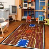 Zoomie Kids Nieman Court G Tufted Brown/Area Rug Nylon in Blue, Size 110.0 H x 79.0 W x 0.32 D in   Wayfair BC327A4E5CF3413F8076618C63F98C6A