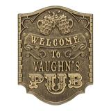 Whitehall Products Pub Welcome 4-Line Wall Decor Metal, Size 12.75 H x 9.75 W in | Wayfair 3353AB
