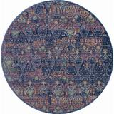 Ankara Global 6' Round Navy Blue Multicolor Moroccan Area Rug - Nourison ANR08