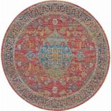 Ankara Global 6' Round Multicolor Persian Area Rug - Nourison ANR01