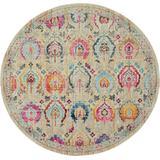 Vintage Kashan 4' Round Ivory Multicolor Persian Area Rug - Nourison VKA04
