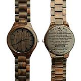 Personalized Engraved Wooden Watch for Son Custom Wood Watches Engraved All Natural Ebony Wood Watches with Free Gift Box (Z1830)