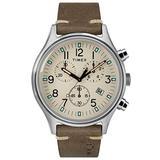 Timex Mens Chronograph Quartz Watch with Leather Strap TW2R96400