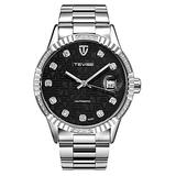 Automatic Watch Men Luxury Gold Mechanical Watches Waterproof Casual Stainless Steel Mens Wristwatch (Silver Black)
