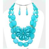 Aquamarine Blue Multi Layered Bead turquoise Gold Chunky Necklace Earrings Set For Women