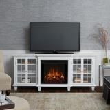 """Real Flame TV Stand for TVs up to 78"""" w/ Electric Fireplace Included Wood in White, Size 30.43 H x 70.0 W x 21.5 D in   Wayfair 2770E-W"""