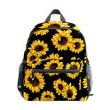 Backpack Yellow Blooming Sunflowers Black Print School Bags Boy Girl Daypack