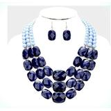 Acrylic Navy Blue Big Multi Layered Strand Chunky Statement Necklace Set Earring For Women