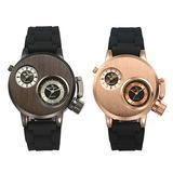 Men's Unique Analog Watch Dual Time Zone Quartz Watch Dual Dial Military Steampunk Cool Design Black Silicone Strap Sport Quartz Wristwatch - 2 Pack