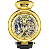 Stührling Original Mens Yellow Gold Tone Skeleton Watch Dial Automatic Watch with Calfskin Leather Band and - Dual Time, AM/PM Sun Moon, 3919 Watches for Men Collection